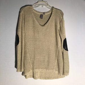 Quinn Tan Sweater With Elbow Patches Y